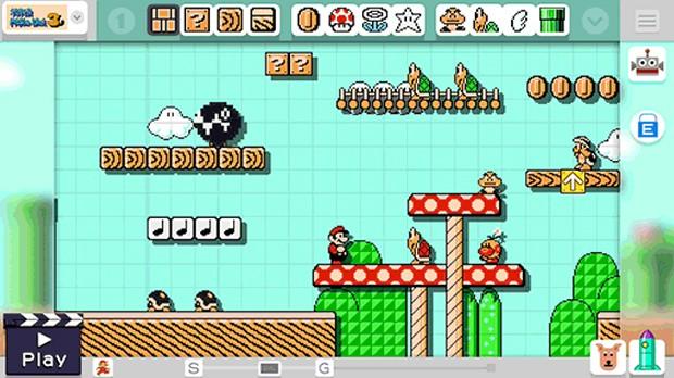"""Tela de edição do """"Super Mario Maker"""""""